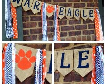 Auburn University Banner, War Eagle Banner, Auburn Burlap Banner