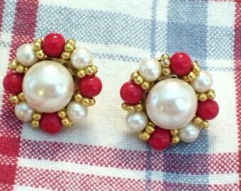 Vintage Nautical Earrings, Faux Pearl Red Gold Bead Pierced Earrings