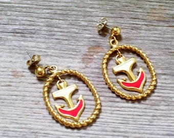 Nautical Earrings, Vintage Anchor Earrings, Avon Nautical Jewelry,  Sailor Jewelry, Goldtone Red and White Enamel