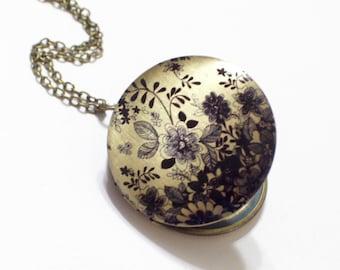 Black and Brass Floral Art Locket Necklace, Round Black Flower Locket, Botanical Locket