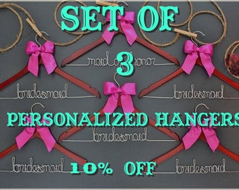 Set of 3 personalized hangers - perfect for bridal party