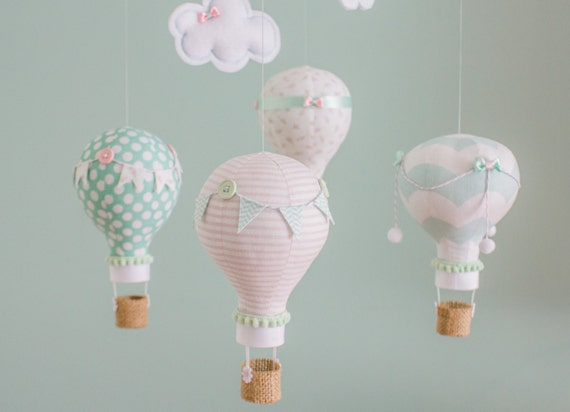 Mint And Blush Pink Hot Air Balloon Baby Mobile Baby Girl