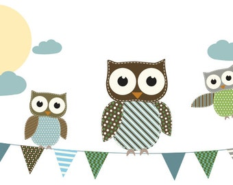 Kids banner  vinyl wall decal with flags 3 owls moon and clouds Neutrals