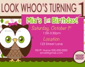 Owl 1st birthday invitation 1st birthday invite Girl birthday party owl theme party invite photo invite owl party girl 1st birthday party