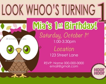 Owl 1st birthday invitation 1st birthday invite Girl birthday party owl theme party invite photo invite owl party girl 1st birthday party
