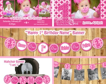 Girl 1st birthday party package, everything one hot pink birthday banner high chair  photo( Invitation, thank you, 3 banners PDF Printable)