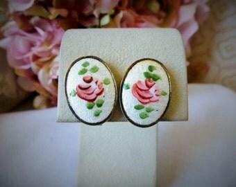 Spectacular Earrings Large Guilloche Enamel Flower EARRINGS ART DECO Estate Item
