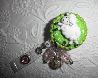 Bottle Cap Lamb/Sheep Badge - Professional Retractable ID Badge Reel With Cute as a Button Lamb/Sheep on a Bottle Cap With Decorative Beads