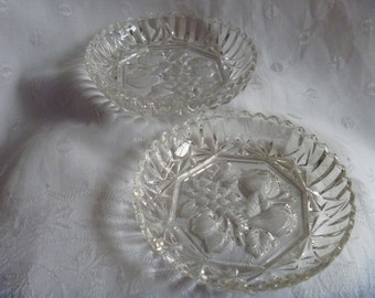 Federal Glass Co Salad Condiment Candy Serving Intaglio Fruit Pressed Glass Pair