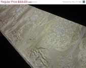 50% off Vintage Silk Fukuro Obi Woven Flowers in Gold and Ivory