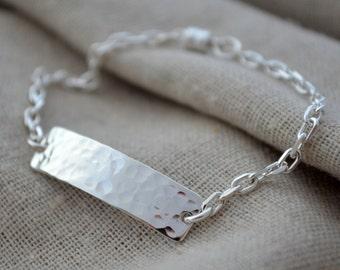Hammered Hidden Message Bracelet - Sterling Silver - Personalize - Hand Stamped