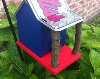 Ole Miss Rebels Rustic License Plate Birdhouse