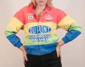 Rainbow vintage NASCAR bomber jacket coat JEFF GORDON Du Pont / patches / rainbrow striped / color block