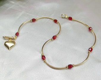 14k Gold Ruby Anklet  Red Crystal Ruby Red Crystal Ankle Bracelet Gold Heart Anklet 14k Gold Filled or Plated BuyAny3+Get1 Free
