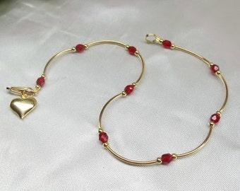14k Gold Ruby Anklet  Red Crystal Ruby Red Crystal Ankle Bracelet Gold Heart Anklet 14k Gold Filled or Plated BuyAny3+Get1 Free