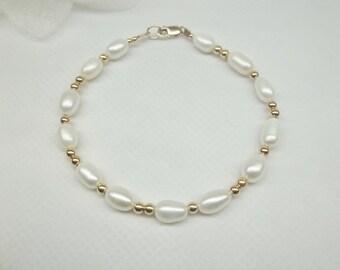 White Pearl Bracelet 14k Gold Bracelet Freshwater Pearl Strand Adjustable Bracelet Bridesmaid Bracelet 14k Gold Filled Stamped Buy3+1Free