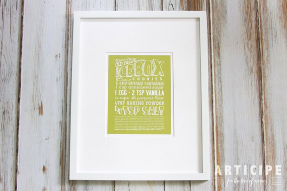 Old Fashioned Ice Box Cookie Kitchen Art Print with Handlettering