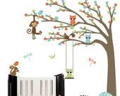 Vinyl nursery wall decal childrens wall decal design nursery wall art forest tree with owls birds squirrels monkey nursery decal - Custom