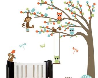 Vinyl nursery wall decal childrens wall decal design nursery wall art forest tree with owls birds squirrels monkey nursery decal