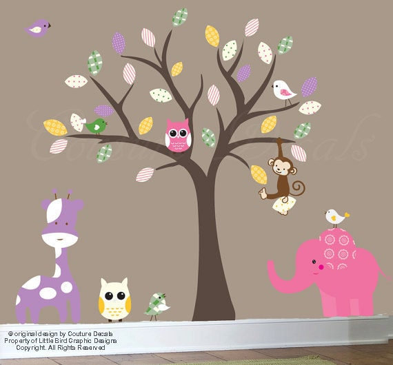 Childrens jungle wall decal tree with patterned leaves and jungle animal wall decal stickers - 0334