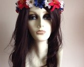 Red, white, and blue flower headband. American pride, America celebration. Patriotic, music festivals, Fourth of July.