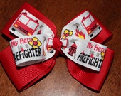 My Hero is a Firefighter Double Pinwheel Bow