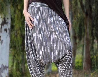 SALE 40% OFF Striped Jersey harem pant for women, Grey stretchy Loose fit skirt pants, Plus size Pregnancy Maternity Wear, Size S M L Xl Xxl