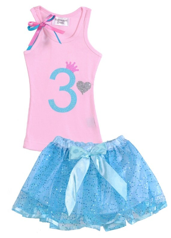 Girls 3rd Birthday Outfit Pink Blue Tank Top by BubbleGumDivas