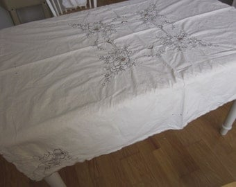 """Vintage Tablecloth + 6 matching napkins cutwork embroidered ivory cotton 50X50"""""""