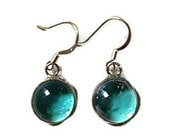 Stained Glass Earrings Aqua Blue mini