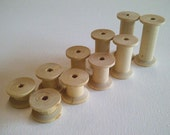 Set of 10 small wooden spools bobbins - 5 different sizes - thread storage - craft sew gift