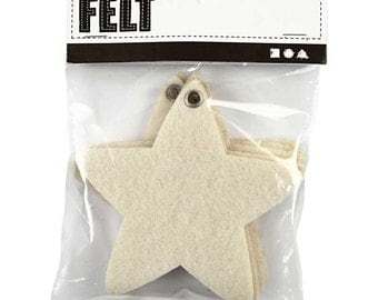 Pre Cut Felt Shapes - Heart Star House - Off White - Pack of 5 - Plain Decorate Embroider - make hanging decorations