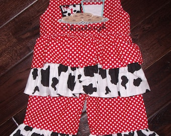 Boutique Cookies with Milk Glass Birthday red dot and cow print Ruffle Shirt and Pant Set Sizes 6M to 6 Youth