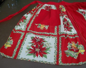 Darling Vintage Christmas Apron, Poinsettia and Bells Print, Handmade