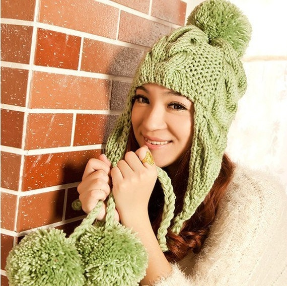green Hand Knit Hat - The Ear Flap Hat pompom Chunky Knit Autumn Accessories Winter Accessories Fall Fashion