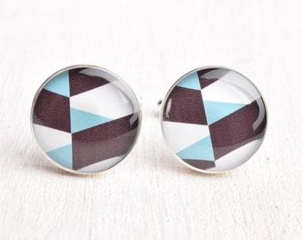Geometric Pattern Cufflinks - Stainless Steel Blue, Black, and White Print Cuff Links