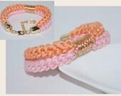 Nautical accessories, Cotton Cord Bracelet, Cotton Double Rope Bracelet, Eco-fridendly Bracelet, Cotton Rope Bracelet, Pale Pumpkin, Pink