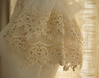antique lace trim in off white , vintage style scalloped lace trim, cotton embroidery gauze lace trim