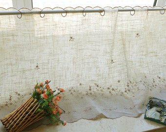 linen lace curtain, country lace curtain, rural wind lace curtains