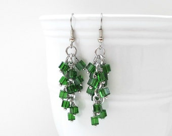 Green earrings, crystal chainmaille earrings, shaggy crystal earrings, green crystal jewelry