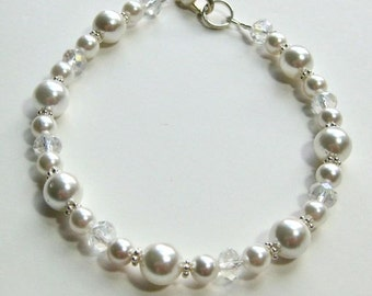 Pearl and crystal bridal bracelet, shell pearls, crystals, and sterling silver wedding bracelet,
