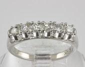Vintage Wedding Ring - 14KT White Gold Diamond Wedding Band / Eternity Band - C1960 - Size 6 Diamond Ring