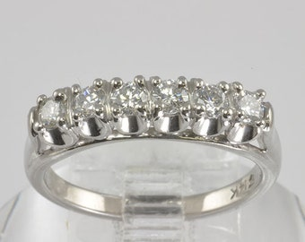 Vintage Wedding Ring - 14KT White Gold Diamond Wedding Band / Eternity Band - C1960 - Size 6 Diamond Ring