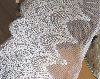 off white lace trim, retro embroidered lace fabric, scalloped trim lace, wave floral, cotton lace, one yard, wscx025b