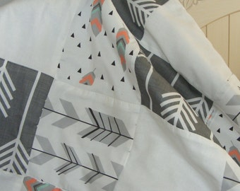 Premium Patchwork Tribal Feathers Arrows Baby Bedding Crib Blanket Coral Mint Grey White
