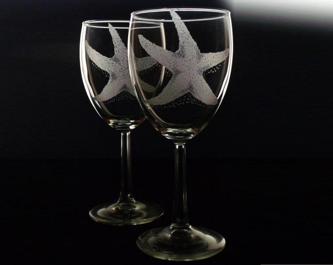 Starfish wine glass set home gifts housewares glassware stemware nautical coastal beach wedding decor  housewarming sea stars