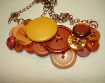 VINTAGE BUTTON NECKLACE - Button Jewelry - Copper tones with golden yellow and russet