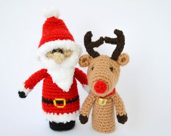 Crochet finger puppets, Christmas finger puppets, crochet Santa Claus, crochet reideer, Amigurumi, christmas gift, finger puppets
