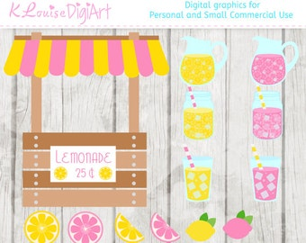 Pink and Yellow Lemonade and Lemon Clipart for Personal and Small Commercial Use