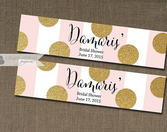 Pink & Gold Glitter Dot Water Bottle Labels Drink Label Blush Bridal Shower Baby Shower Birthday Party DIY Drink Bottle Labels 8x2- Damaris